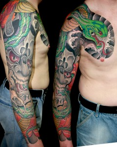 Tattoo Arm Brust Schlange Hennay Sleeve