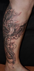 Tattoo Phoenix Bein
