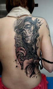 Tattoo Zombie Skelett Frau